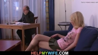 His Young Blonde Wife Sucks And Rides Another Cock
