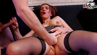French Amateur College Teen Try First Time Anal