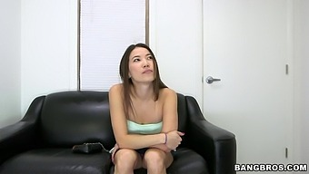 Gorgeous Kalina Ryu Gets Talked Into Blowing A Dick On The Couch