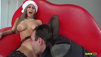 Slender Euro Chick Nina North Takes Big Cock In Her Christmas Pussy