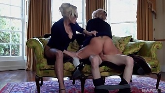 Sexy Brittany Bardot Sharing A Long Cock With Horny Louise Davis