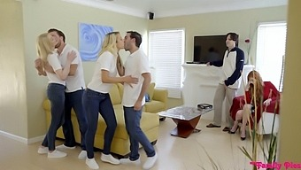 Crazy Foursome With Adorable Girls Carmen Caliente And Gia Love