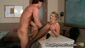 Attractive Milf Jezebel Jones Seduces Her Pupil And Fuck Him In A Institution Lesson