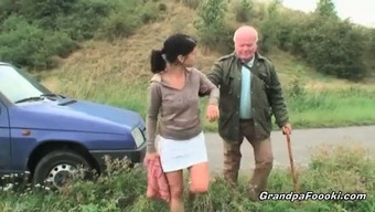 Lovely Dame Seduces Grand Father Driving