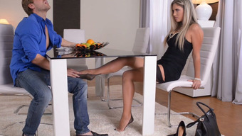 Gorgeous Brown In Stockings Present Footjob To At Least One Entered Dude