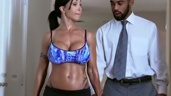 Raven Haired Vital Milf With Great Silicone Jugs Gives A Make The Trip To Black Man In Tub
