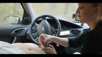 Exciting Girl Giving An Amazing Handjob In Automobile