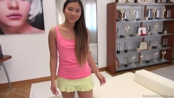 Far Eastern Beauty Along With A Pierced Pussy May Thai Yoga Gets Double Penetrated