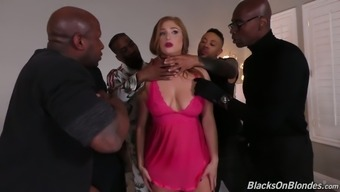 Whore Wifey Skylar Snow Requires Aspect In Ridiculous Gangbang Despite The Fact That Her Spouse Covers A Business Trip