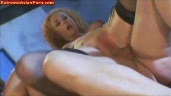 Oriental Chick In Stockings By Using Furry Pussy Gets Fucked Challenging